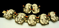 "Rare Vintage Selro Goldtone Egyptian Revival 7"" Bracelet & 1-1/2"" Earring Set"