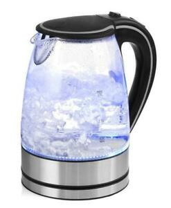 Glass Kettle Electric LED Light Kitchen Water Jug Stainless Steel 1.7L