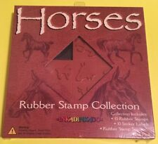 Horses Rubber Stamp Collection InkaDinkaDo 10 Stamps & Sticker Labels Sealed