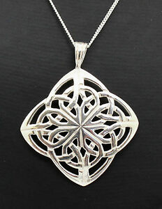 """925 STERLING STERLING LARGE CELTIC KNOT NECKLACE 18"""", LADIES MENS, IRELAND,IRISH"""