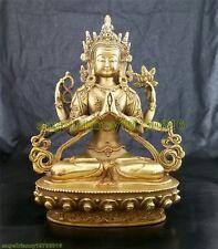 Rare China Tibet Bronze 4 Arms Kwan-yin Chenrizg Buddha lucky Statue