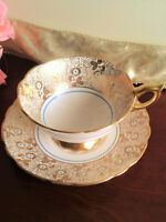Royal Stafford Tea Cup n Saucer Hand Painted Blue Beads Gold Floral  50s England