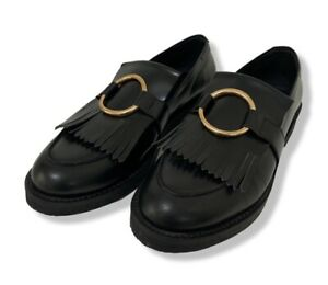 MARKS AND SPENCER Black Leather Loafers Gold Hardware Worn Once SIZE 8