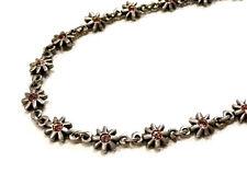 Bijou alliage argenté collier Fleur strass rose signé métal pointus Paris