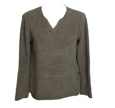 J. Jill Womens Brown Notched V Neck Chenille Sweater Size SP
