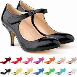 Ladies Stiletto Heel Round Toe Buckle Strap Light Pumps Retro Colorful Casual