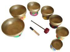 TIBETAN SINGING BOWLS Chakra Set Handmade Authentic - healing therapy yoga bowl