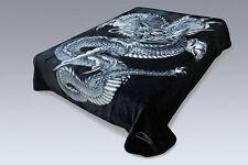 Solaron Korean Super High Quality Thick Mink Dragon Blanket KING SIZE BLACK Soft