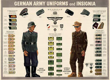 German Army Uniforms and Insignia Chart WWII War Propaganda Art Print Poster