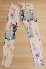 TED BAKER New! ~Water Bottle~ Print Jeans UK 8 1 26w Nude FLORAL Trousers Skinny