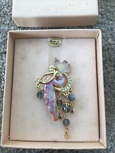 KIRKS FOLLY Angel Fairy Moon Stars Brooch Boxed Sparkle Gold Tone Pink Glitter