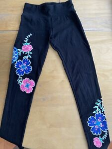 Justice Size 10 Black Leggings With Floral Detail