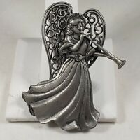 Guardian Angel Horn Brooch Signed JJ Jonette Jewelry Pewter Silver Tone Vtg Pin