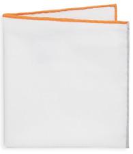 BRUNELLO CUCINELLI fazzoletto da taschino bianco contrasto arancione grigio