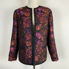 Fella Hamilton Women's Cocktail Black Pink Red Flocked Lined Jacked Size 14 ~A17