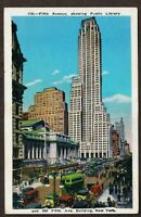 Fifth Avenue Showing Public Library New York NY Vintage Postcard NYC