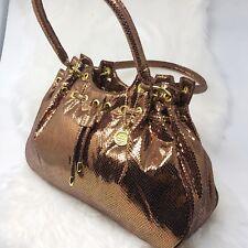 Big Buddha Drawstring Shoulder Bag Handbag Hobo Shimmer Metallic Bronze