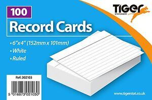 """100 Record/Flash Cards 6""""x4"""" or 5""""x3""""/White/Colour/Ruled/Student/Revision/2sided"""