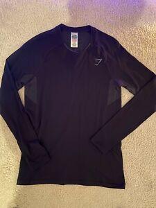 Men's Gym Shark Long Sleeve Black Shirt Small (Never Worn)