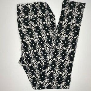 NWT LuLaRoe Leggings OS One Size 2-10 Black White Aztec Pattern