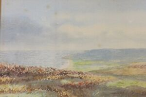 MOUNTED WATERCOLOUR PAINTING PORLOCK BAY FROM EXMOOR by S.LINE 27CMS BY 22CMS