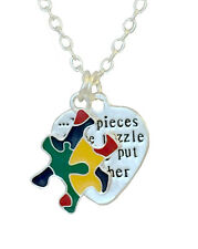 Autism Awareness Ribbon Necklace, Autism Mom, The Pieces of the Puzzle SALE