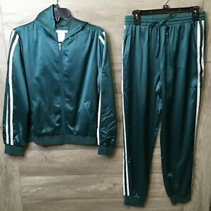 K. Jordan Womens Medium Deep Teal Green Hooded Full Zip Jacket & Jogger Set NWOT