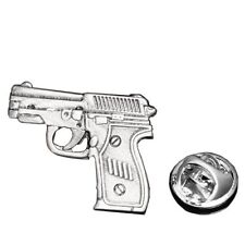 Gun Ammo Weapon Firearm Pistol Lapel Pin Tack Tie