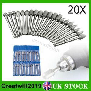 20X Diamond Grinding Burr Bits Drill Set Rotary Multi Tool For Dremel 3mm Shank