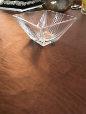 Tiffany and Co. Crystal Glass Tapered Square Candy Dish Made in Italy
