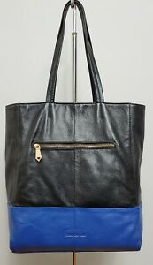 wOw CHRISTOPHER KON Royal Blue Black Color Block Large Leather Tote Laptop Bag