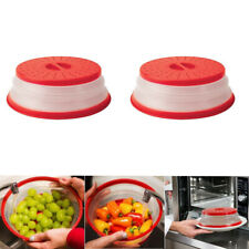 2Packs BPA Free Collapsible Microwave Lid Cover Plate Colander Strainer Drainer