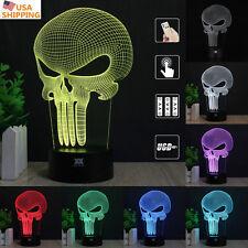 Anti Held Punisher Skull 3D Acrylic LED Night light Touch Table Desk Lamp Gift