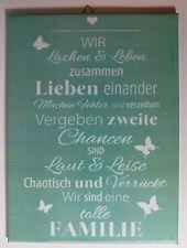 Dekofliese Wandbild Bildfliese Familie Spruch (052DP) Handarbeit 15x20cm