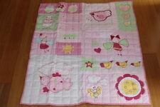 BENETTON Baby Girls Pink Cot Comforter/Heirloom Blanket Quilted New