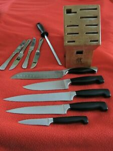KITCHEN KNIFE SET W/BLOCK, ZWILLING J.A. HENCKELS TWIN 4 STAR, German made, used