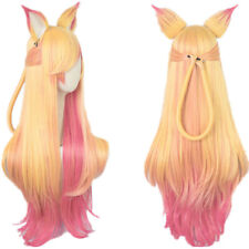 LOL Ahri Star Guardian Wig The Nine Tailed Fox Golden Pink Mixed Cosplay + Ears