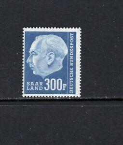 "SAAR 1957 300 fr PRESIDENT THEODOR HEUSS ""F ADDED"" SC 308 MNH"