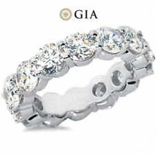 9.03 ct Round Diamond Ring 18k Gold Eternity Band F VS GIA Size 6 0.75 ct each