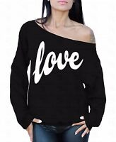 LOVE White Off the shoulder oversized slouchy sweater sweatshirt
