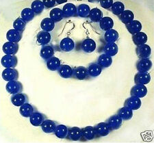 Necklace Bracelet Earrings Jewelry Set 10mm Blue Sapphire Round Beads Gemstone