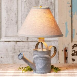 Farmhouse Watering Can Table Lamp with Shade in Distressed Tin
