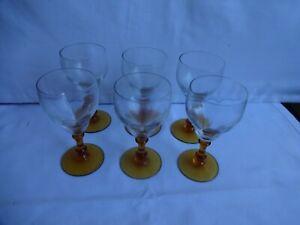 Vintage Amber Stem Glasses x 6, Sherry, Port, Shots Height 11 cm Diameter 5 cm