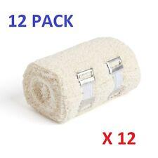 12 Pack Crepe Cotton stretch bandages 10cm x 4.5m + Retaining Clips 100% Cotton