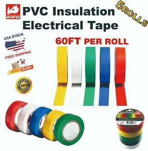 RHINO 5 Color  Electrical Tape 3/4″ x 60′ FT PVC Insulation (5 pack)