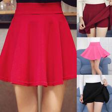 Fashion Women Elastic High Waist Skater Mini Skirt Flared Pleated Short Skirt AU