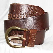 """Vintage Linea Pelle brown Leather waist Belt sz L 36 & 2¼"""" W dull brass buckle"""