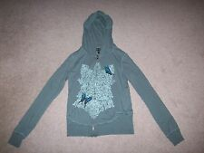 Womens Miss Chievous green long sleeve hooded butterfly graphic xip up shirt L