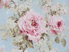 Romantik Rosen Deko Stoff Shabby Landhaus Rosenstoff rosa hellblau Bezugsstoff
