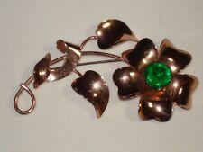 Green Glass Floral Flower Pin Brooch Vintage Jordan Rose Gold Sterling Silver